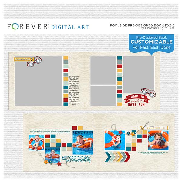 Poolside Pre-designed Book 11x8.5 Digital Art - Digital Scrapbooking Kits