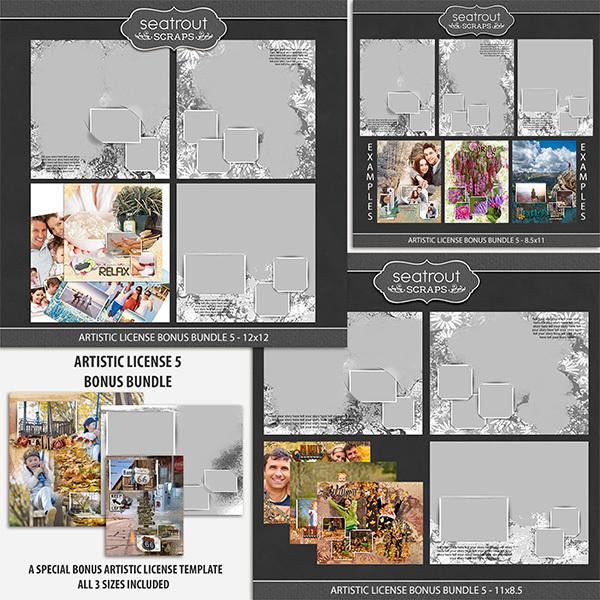 Artistic License Bonus Bundle 5 Digital Art - Digital Scrapbooking Kits