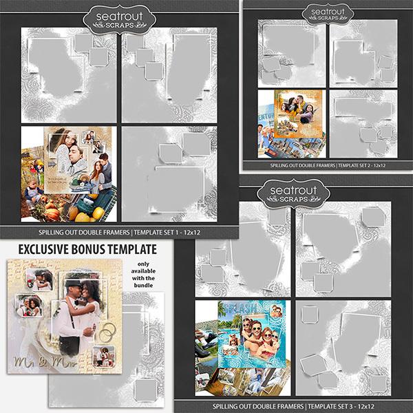 Spilling Out Double Framers Bonus Bundle 12x12 Digital Art - Digital Scrapbooking Kits