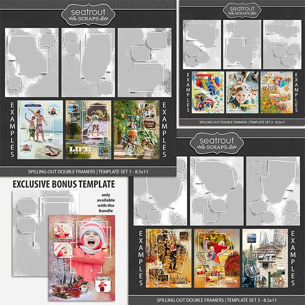 Spilling Out Double Framers Bonus Bundle 8.5x11 Digital Art - Digital Scrapbooking Kits
