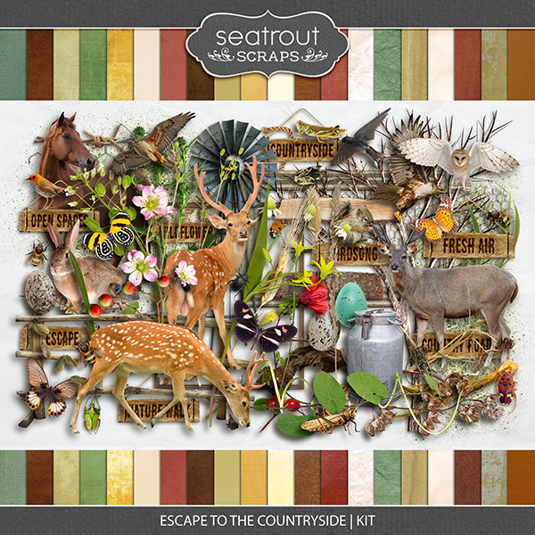 Escape to the Countryside Kit Digital Art - Digital Scrapbooking Kits