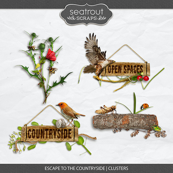 Escape to the Countryside Clusters Digital Art - Digital Scrapbooking Kits