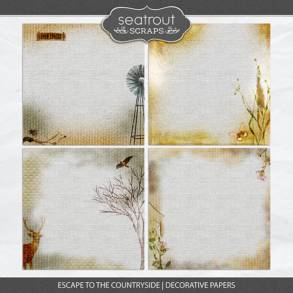 Escape to the Countryside Decorative Papers Digital Art - Digital Scrapbooking Kits