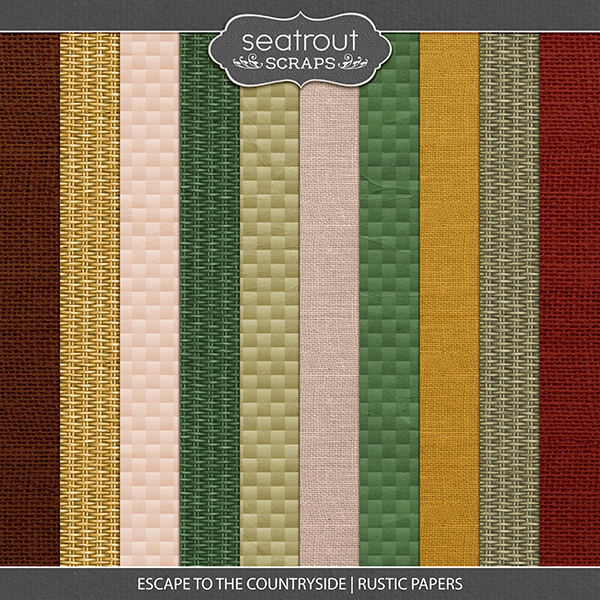 Escape to the Countryside Rustic Papers Digital Art - Digital Scrapbooking Kits
