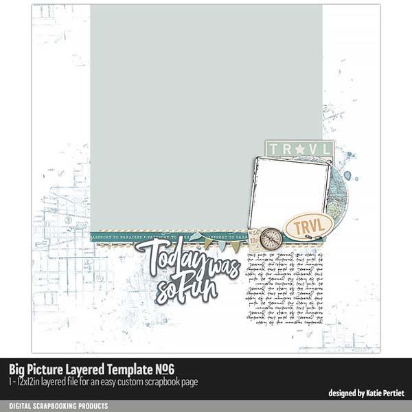 Big Picture Layered Templates 06 Digital Art - Digital Scrapbooking Kits