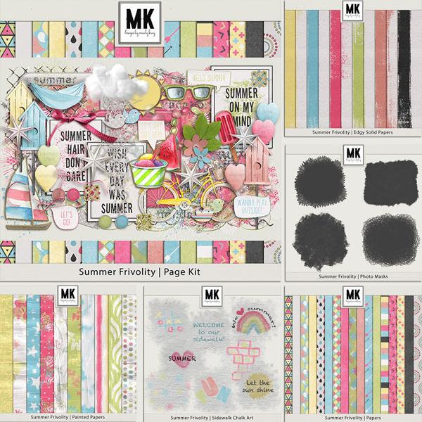 Summer Frivolity BUNDLE Digital Art - Digital Scrapbooking Kits