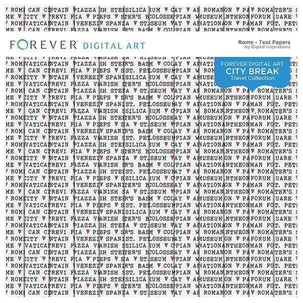 City Break - Rome - Text Papers Digital Art - Digital Scrapbooking Kits