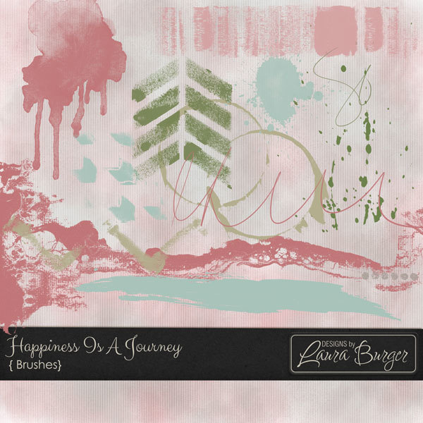 Happiness Is A Journey Brushes Digital Art - Digital Scrapbooking Kits