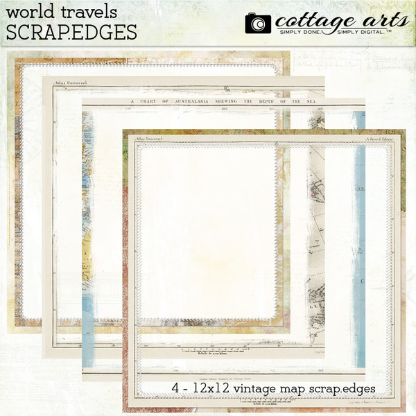 World Travels Scrap.Edges Digital Art - Digital Scrapbooking Kits