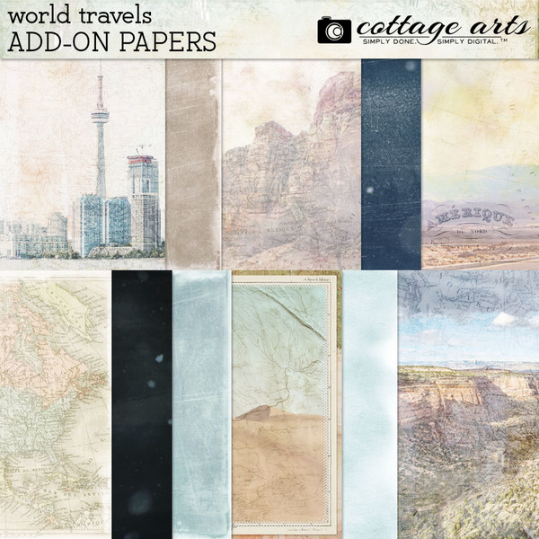 World Travels Add-on Paper Pak Digital Art - Digital Scrapbooking Kits