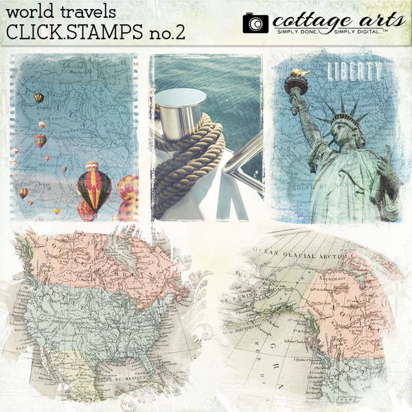 World Travels Click.Stamps 2 Digital Art - Digital Scrapbooking Kits