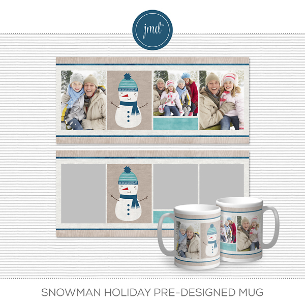 Snowman Holiday Pre-designed Mug Digital Art - Digital Scrapbooking Kits