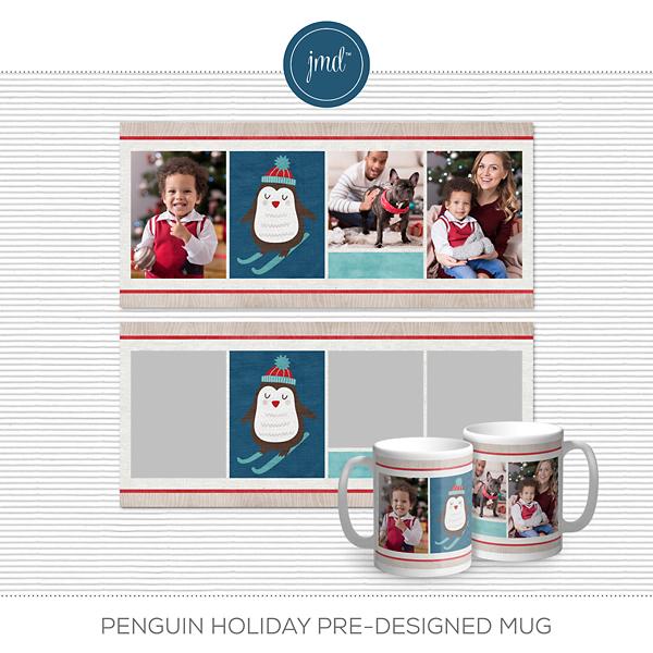 Penguin Holiday Pre-designed Mug Digital Art - Digital Scrapbooking Kits