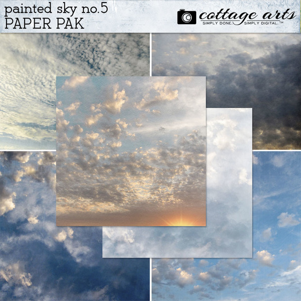 Painted Sky 5 Paper Pak Digital Art - Digital Scrapbooking Kits