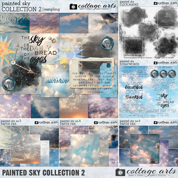 Painted Sky Collection 2 Digital Art - Digital Scrapbooking Kits