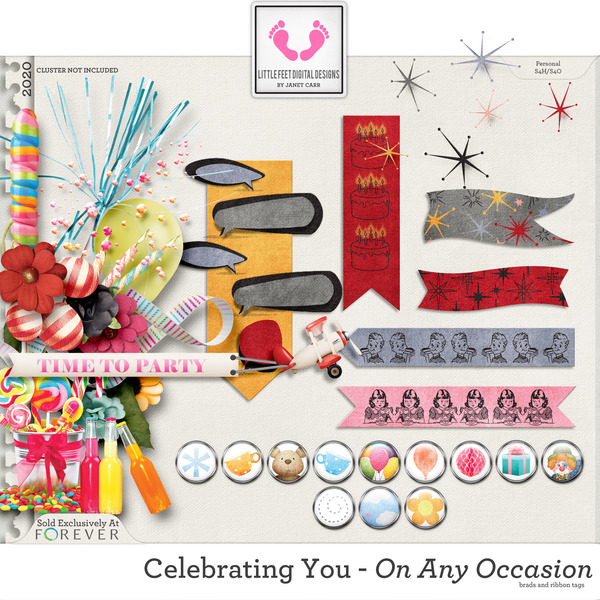Celebrating You On Any Occasion Ribbon Tags and Brads Digital Art - Digital Scrapbooking Kits
