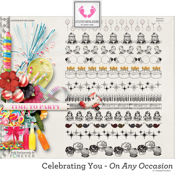 Celebrating You On Any Occasion Stamped Borders Digital Art - Digital Scrapbooking Kits