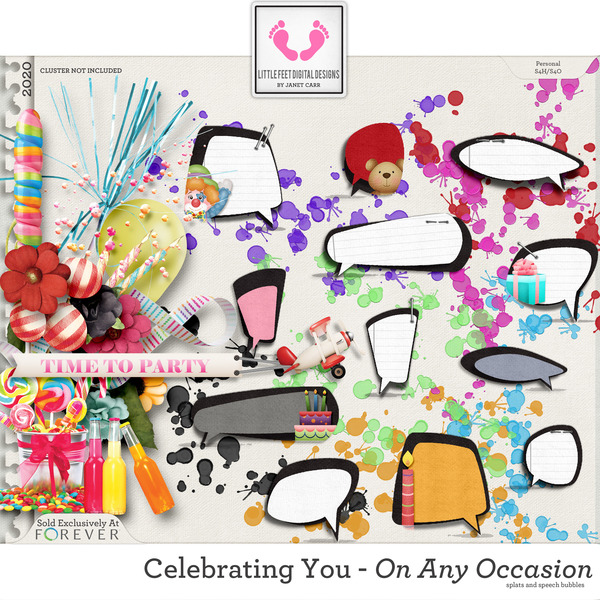 Celebrating You On Any Occasion Speech Bubbles and Splats Digital Art - Digital Scrapbooking Kits