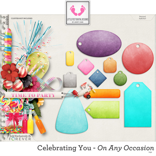 Celebrating You On Any Occasion Tags Digital Art - Digital Scrapbooking Kits