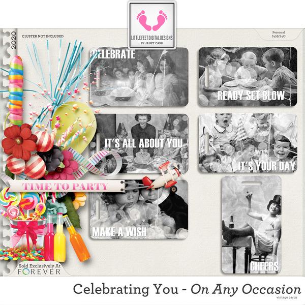 Celebrating You On Any Occasion Vintage Cards Digital Art - Digital Scrapbooking Kits