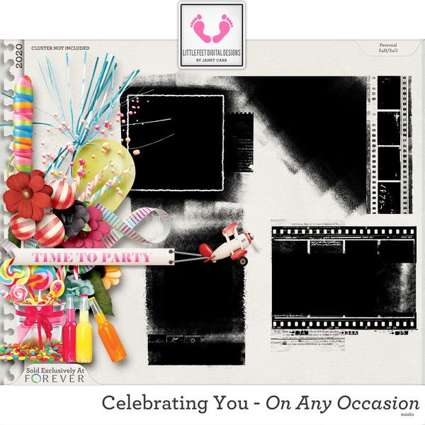 Celebrating You On Any Occasion Masks Digital Art - Digital Scrapbooking Kits