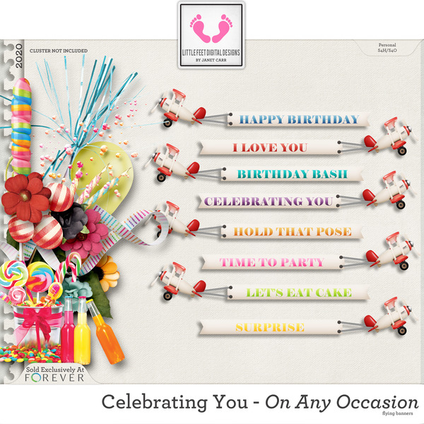 Celebrating You On Any Occasion Flying Banners Digital Art - Digital Scrapbooking Kits