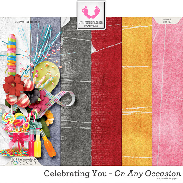 Celebrating You On Any Occasion Distressed Solid Papers Digital Art - Digital Scrapbooking Kits
