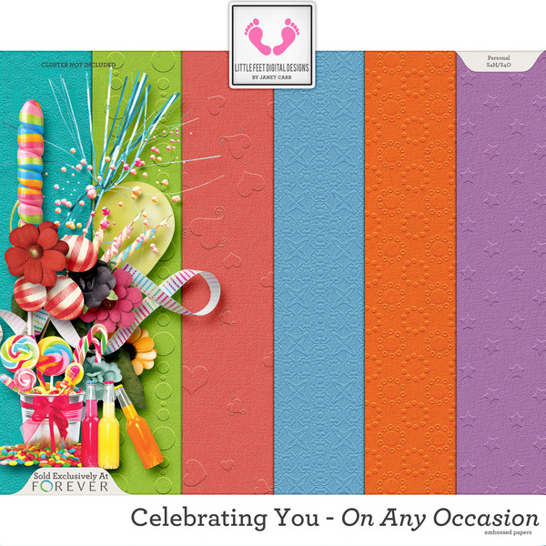 Celebrating You On Any Occasion Embossed Solid Papers Digital Art - Digital Scrapbooking Kits