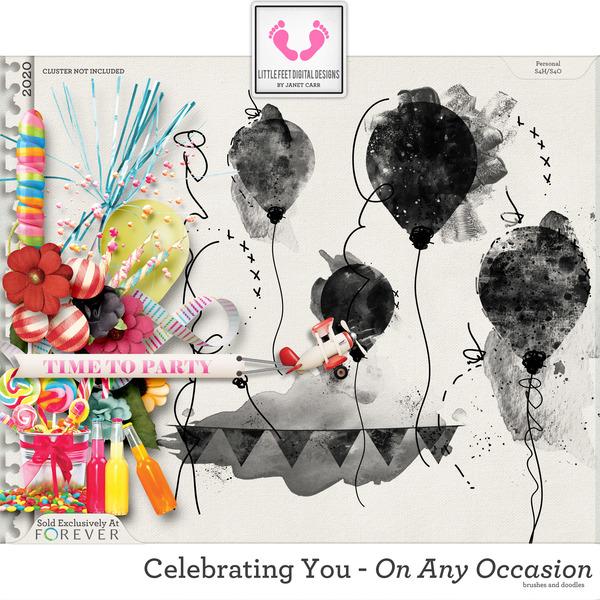 Celebrating You On Any Occasion Doodle Brushes Digital Art - Digital Scrapbooking Kits