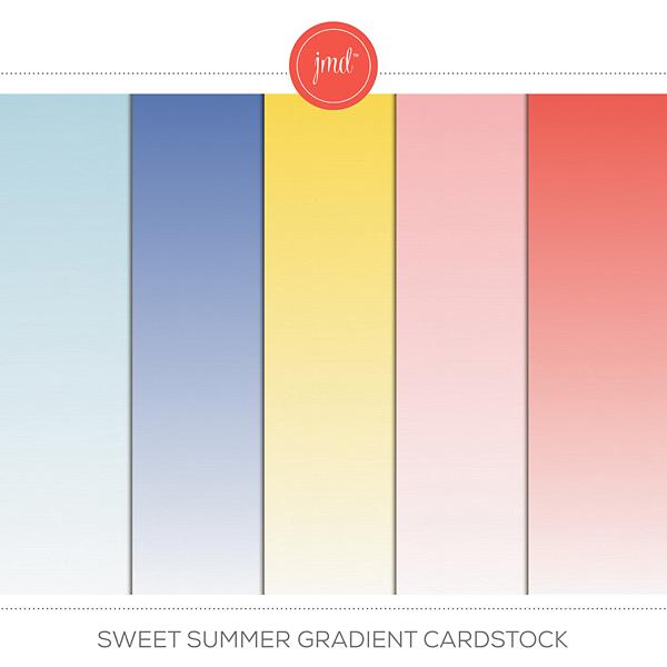 Sweet Summer Gradient Cardstock Digital Art - Digital Scrapbooking Kits