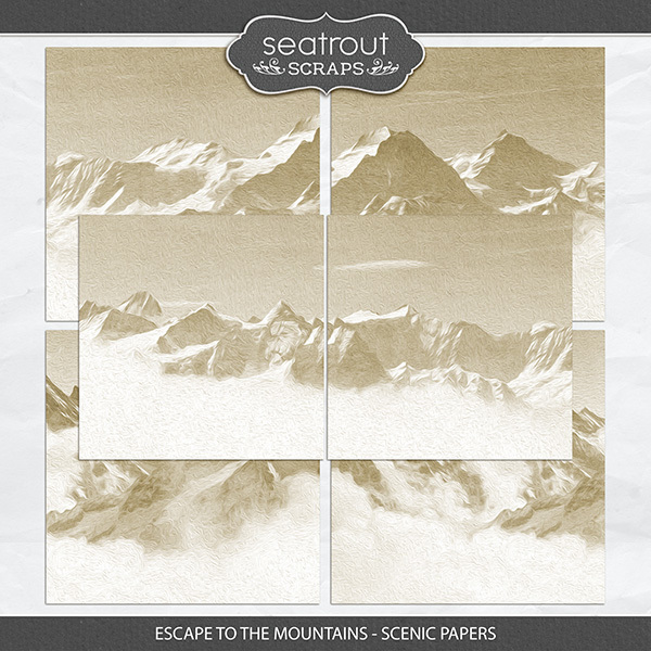 Escape to the Mountains - Scenic Papers Digital Art - Digital Scrapbooking Kits