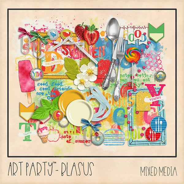 Blasus Mixed Media Embellishments Digital Art - Digital Scrapbooking Kits