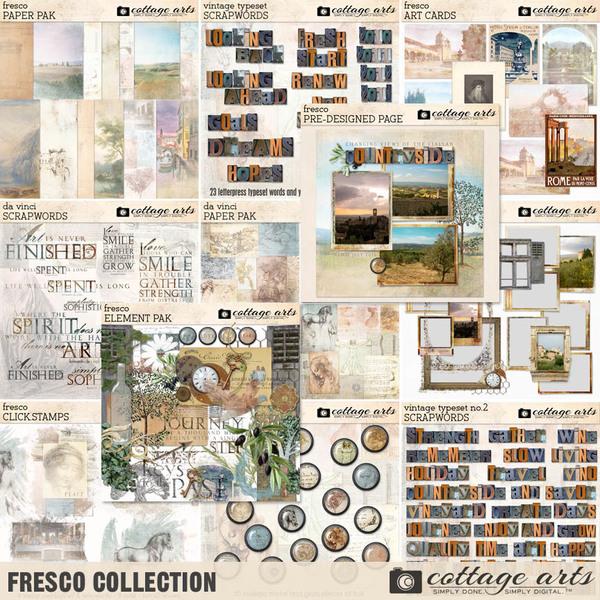 Fresco Collection Digital Art - Digital Scrapbooking Kits