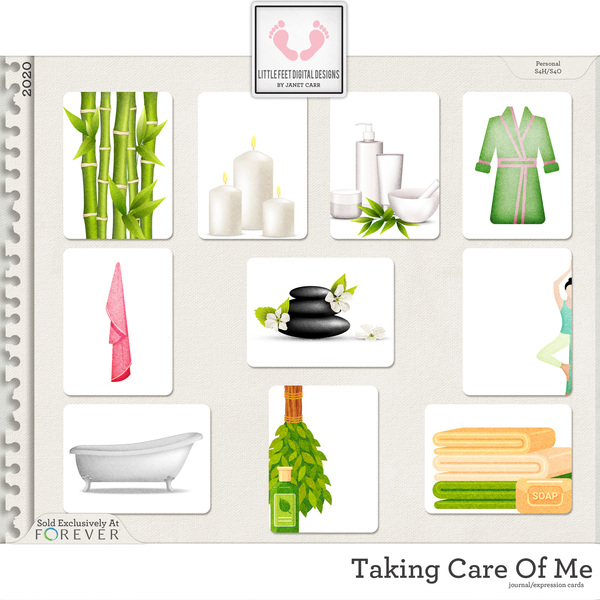 Taking Care Of Me Journal Expression Cards Digital Art - Digital Scrapbooking Kits