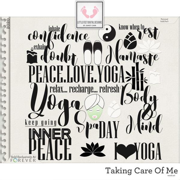 Taking Care Of Me Word Art Digital Art - Digital Scrapbooking Kits