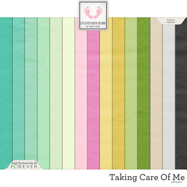 Taking Care Of Me Solid Papers Digital Art - Digital Scrapbooking Kits