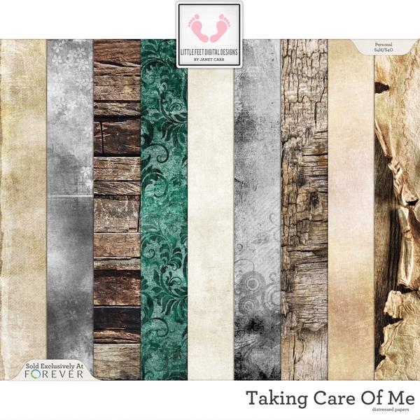Taking Care Of Me Distressed Papers Digital Art - Digital Scrapbooking Kits