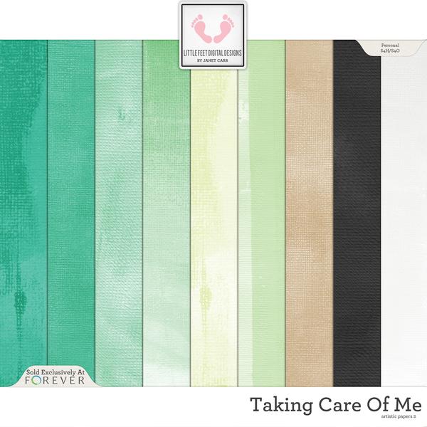 Taking Care Of Me Artistic Papers 2 Digital Art - Digital Scrapbooking Kits