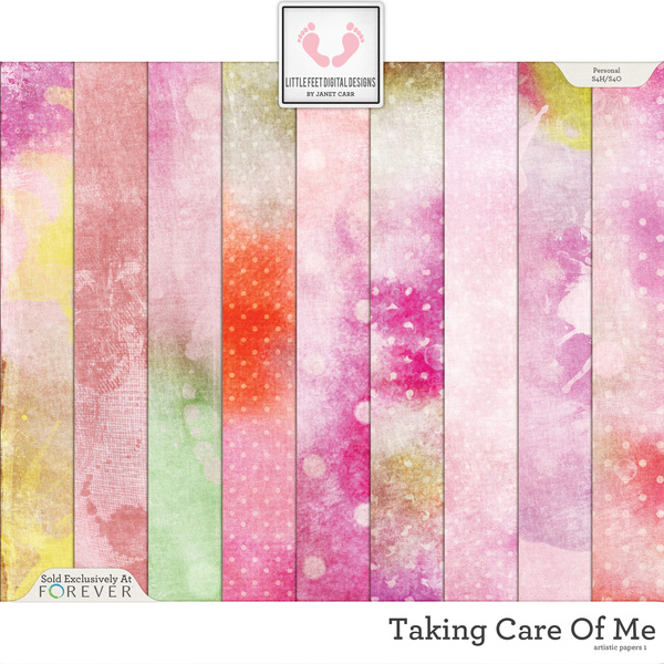Taking Care Of Me Artistic Papers 1 Digital Art - Digital Scrapbooking Kits
