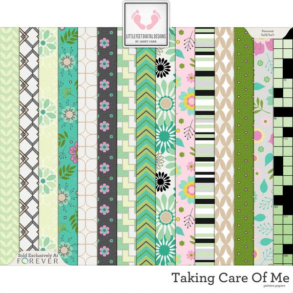 Taking Care Of Me Pattern Papers Digital Art - Digital Scrapbooking Kits