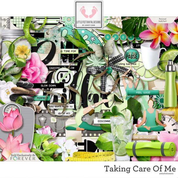 Taking Care Of Me Embellishments Digital Art - Digital Scrapbooking Kits