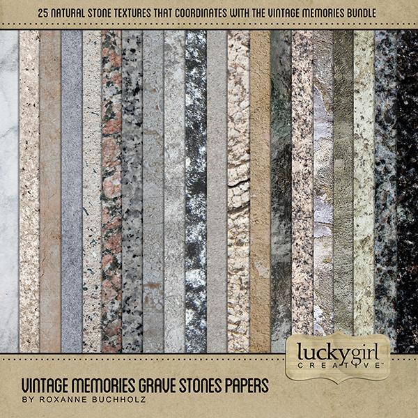 Vintage Memories Grave Stones Papers Digital Art - Digital Scrapbooking Kits