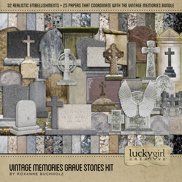 Vintage Memories Grave Stones Kit Digital Art - Digital Scrapbooking Kits