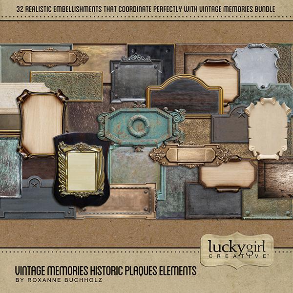 Vintage Memories Historic Plaques Elements Digital Art - Digital Scrapbooking Kits