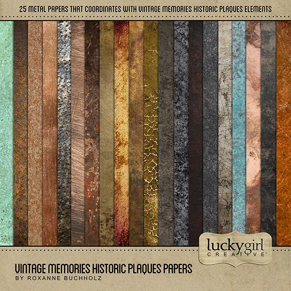 Vintage Memories Historic Plaques Papers Digital Art - Digital Scrapbooking Kits