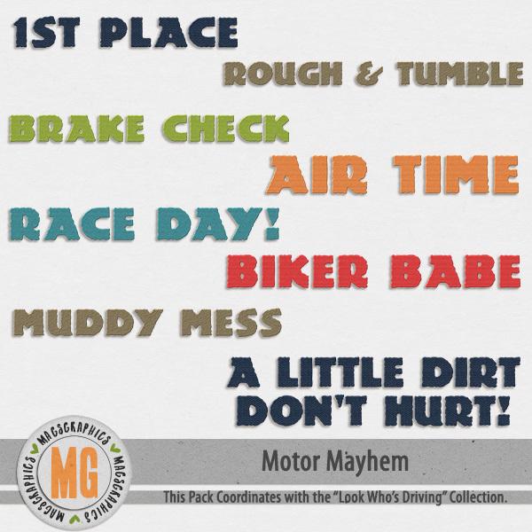 Motor Mayhem Titles Digital Art - Digital Scrapbooking Kits