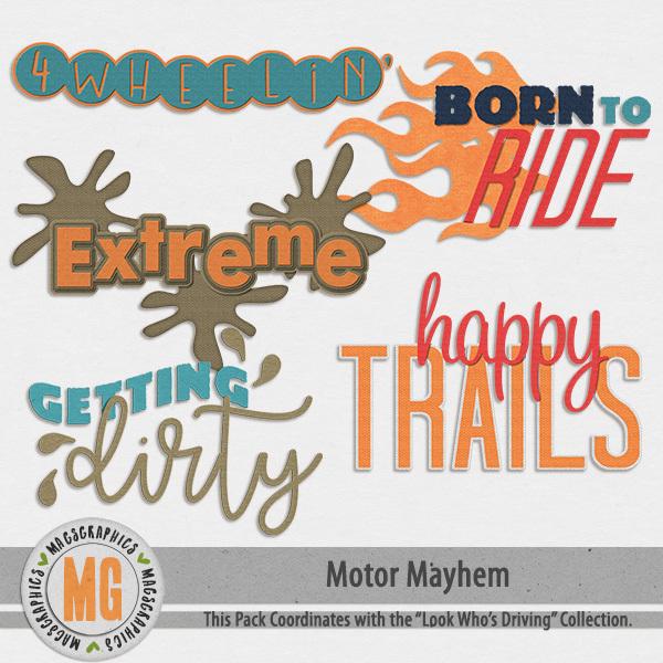 Motor Mayhem Word Art Digital Art - Digital Scrapbooking Kits