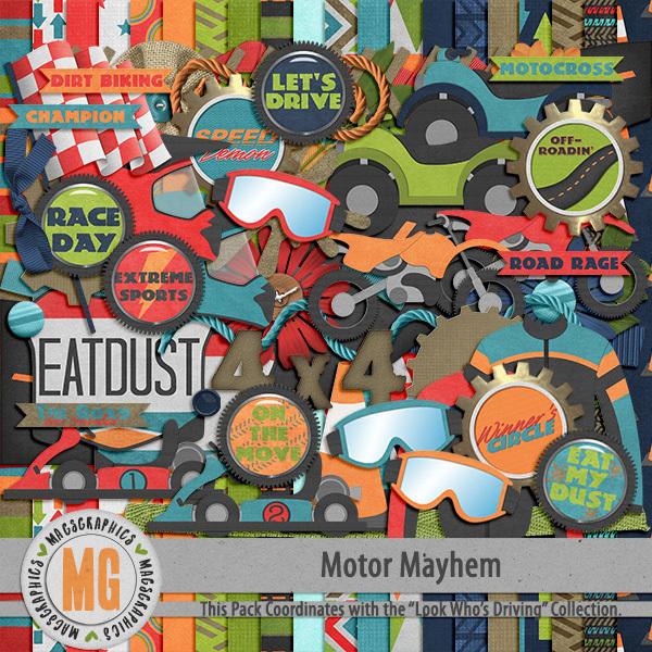 Motor Mayhem Kit Digital Art - Digital Scrapbooking Kits