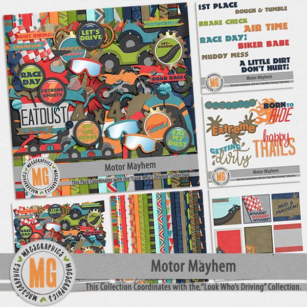 Motor Mayhem Bundle Digital Art - Digital Scrapbooking Kits