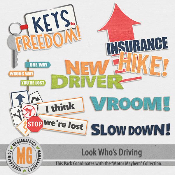 Look Who's Driving Word Art Digital Art - Digital Scrapbooking Kits